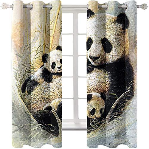 SSHHJ Cortinas De Animales Panda Goldfish Cortinas Lavadas De Poliéster 3D Adecuadas para Jardín Balcón Cortinas Opacas De Dormitorio 9 Piezas