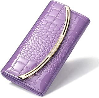 Wallets Long Section Leather Women's Wallets Female Tri-fold Large Capacity Leather Purse (Color : Purple, Size : 19 * 10 * 3.5CM)