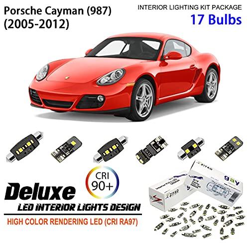 ZPL8987 - (17 Bulbs) Deluxe LED Interior Light Kit 6000K Xenon White Dome Light Bulbs Replacement Upgrade for 2005-2012 Porsche Cayman (987)