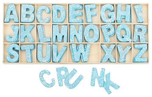 Kleenes Traumhandel Buchstabenkasten Holz Blau - 5,4 cm hoch - je 4 hölzerne Buchstaben - 104 Teile