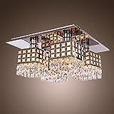 Lampadario moderno in cristallo inox Living 4 luci, 220-240V