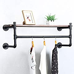 【Material】:Iron pipe and baking varnish real pine wood. 【Size】:Length 36 x Height 9.84 x Depth 9.84 in. 【Easy to Assemble】:With the instructions,the assembly requires two people to collaborate. 【Widely Used】:Perfect for home, retail, and commercial u...