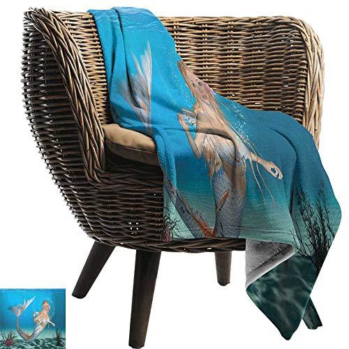 ZSUO Sofa deken zeemeermin,Graphic Art Print van een zeemeermin meisje op een rots in de zee mythische karakter marineblauw wit gezellig en duurzaam Fabric-Machine wasbaar