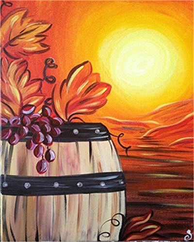 Pintar por Numeros para Adultos Niños Pintura por Números con Pinceles y Pinturas Decoraciones para el Hogar 16 * 20 Pulgadas,Barril de vino al atardecer