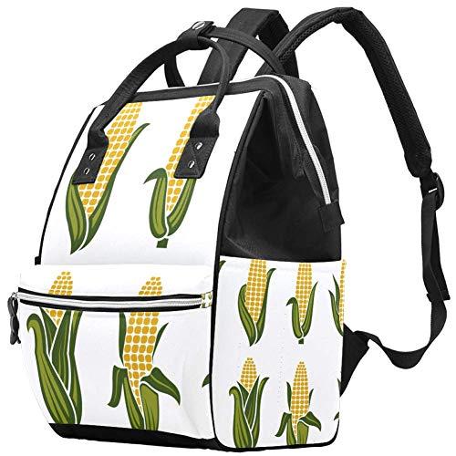 Images d'épis de maïs Nappy Changing Bag Diaper Sac à dos avec poches isolées, sangles de poussette, grande capacité multifonctionnel élégant sac à couches pour maman papa en plein air