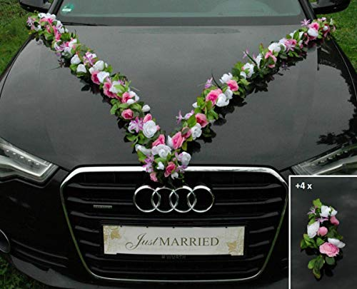 Ghirlanda di fiori multipli da sposa, coppia di orchidee di camelia, decorazione per matrimoni, auto, matrimonio, decorazione per auto, colore rosa