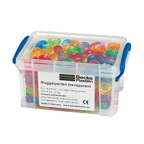 Becks Plastilin B100573 Muggelperlen 310g, transparent, Stapelbox, bunt (280er Pack)