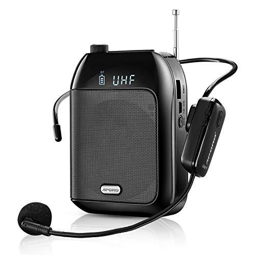 Amplificador de Voz, Sistema de PA Recargable de 15 Vatios (2400 mAh) con UHF Micrófono para Profesores, Guía Turístico y más (inalámbrico)