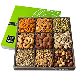 PRESENT A GIFT THAT LEAVES A MEMORABLE IMPRESSION: This signature Oh! Nuts rustic wooden tray is filled to the brim with healthy goodies. The lidded container is neatly divided into 9 compartments featuring an assortment of HIGH-QUALITY GRADE A FRESH...