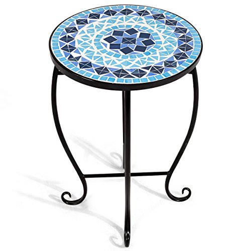 Giantex Mosaic Round Side Accent Table Patio Plant Stand Porch Beach Theme Balcony Back Deck Pool Decor Metal Cobalt Glass Top Indoor Outdoor Coffee End(BLlue) Table(Yellow)