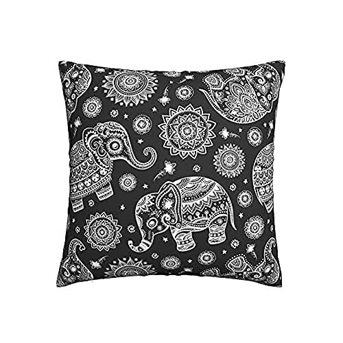 Fundas de almohada cuadradas de 18 x 18 cm, diseño de elefante étnico de loto, fundas de almohada decorativas modernas de poliéster al aire libre para cama, sofá, dormitorio, coche, sala de estar
