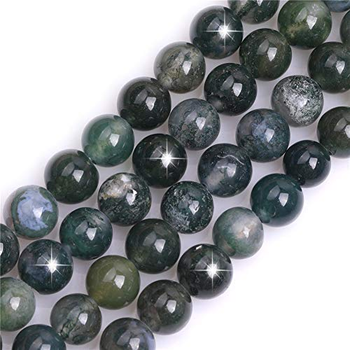 Natural Green Moss Tree Agate Gemstone Semi Precious Round 10mm Loose Beads for Jewellery Making DIY Bracelet Necklace Crafts 15''
