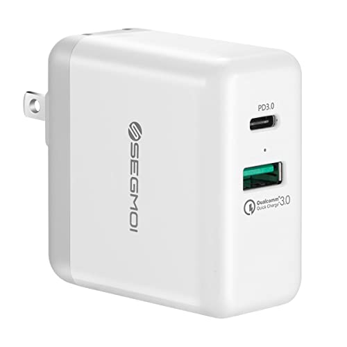 USB C Charger with 27.6W USB-C PD Power Delivery 3.0 & 18W Quick Charge 3.0 Ports Dual USB Wall Charger Adapter Compatible with Samsung S9/S9 Plus/S8/S8 Plus/Note8,Google Pixel 2 XL (PD3.0+QC3.0-White)