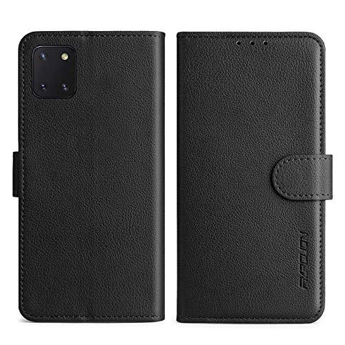 FMPCUON Handyhülle Kompatibel mit Samsung Galaxy Note 10 lite 2020/A81 Hülle Leder PU Leder Tasche,Flip Hülle Lederhülle Handyhülle Etui Handytasche Schutzhülle für Galaxy Note 10 lite 2020,Schwarz