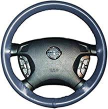 product image for Wheelskins Genuine Leather Sea Blue Steering Wheel Cover Compatible with Plymouth Vehicles -Size AXX