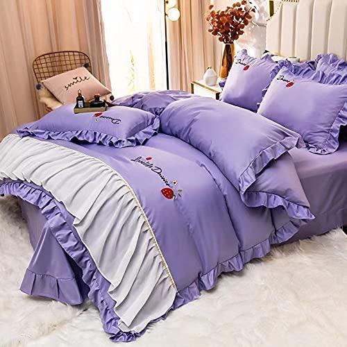 Edredón de microfibra reversible,Set de sábanas de sábanas Set 4 PCS 1 Duvet Funda 1 Hoja ajustada 2 Casas de almohadas, más adecuadas para la decoración del dormitorio, las habitaciones.-C_1,8 m de