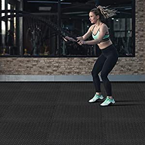 innhom Gym Flooring Gym Mats Exercise Mat for Floor Workout Mat Foam Floor Tiles for Home Gym Equipment Garage, 12 Pieces Black