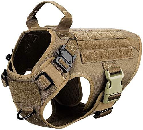 Militärische Taktische Hundegeschirr Haustier Ausbildung Hund Weste Metall Schnalle Deutscher Schäferhund K9 Hundegeschirr und Leine für Kleine Große Hunde Weste ( Color : Brown Harness , Size : L )