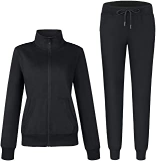 Women's Solid Cotton Sweatsuit 2 Piece Sports Active Casual Long Sleeve Sweatshirt and Sweatpants Zip up Tracksuits