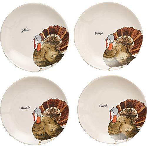 Rae Dunn Magenta Ceramic Thanksgiving Gobble, Grateful, Thankful, Blessed Appetizer Dessert Circle Small 8' Plate Eat (Set of 4) (8 in, Gobble, Grateful, Thankful, Blessed)