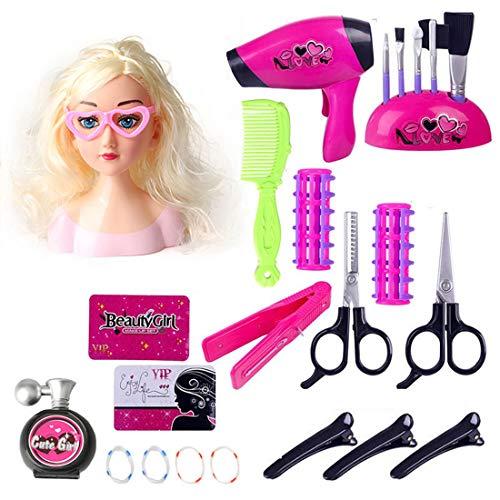OVERWELL 23pcs Schminkkopf Puppe Frisierkopf Fur Kinder, Styling Head Frisierköpfe für Kinder, inklusiv Kosmetik und Zubehör