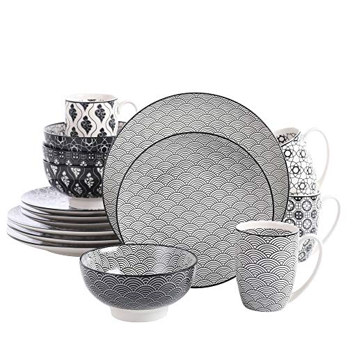 vancasso Haruka 16 Pieces Dinner Set Porcelain Hand Painted Japanese Style Grey Spot Dinner Service Set Crockery with 10.6' Dinner Plate 8.5' Dessert Plate 6' Bowl and 13 Ounce Mug, Service for 4