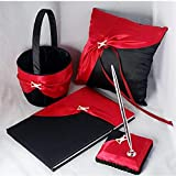 AUSUKY Wedding Black&Red Pillow Guest Book...