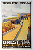 Poster Brest Bretagne, Reproduktion, Format 50 x 70 cm,