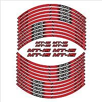ヤマハMT-15 MT15用 オートバイ 防水ステッカー20個ホイールリムハブステッカーフロントリア反射デカール バイクパーツデカールステッカー (Color : Red)