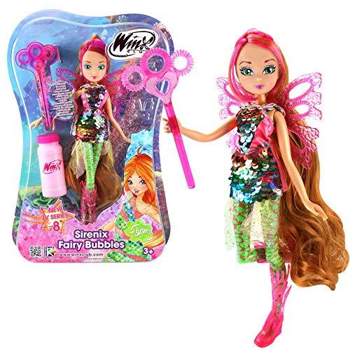 Flora | Sirenix Fairy Bubbles Muñeca | Club Winx | Burbujas de Jabón Hada 28 cm