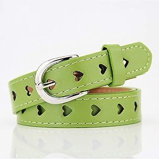 Yinew Cintura a Forma di Cuore Vuoto, Colori Pastello, Fibbia Sottile, Cintura per Abiti e Jeans Accessori, PU, Green, As ...