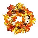 WingFly Ahornblatt Kürbis Halloween Kranz mit LED, 45cm Weihnachtsdekoration Kranz Kürbis Beere Künstlicher Kranz Thanksgiving Girlande Herbst Ornamente, Türkranz Innen und Außen