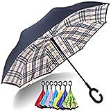 sombrilla Paraguas Inverso, Paraguas De Viaje Invertido De Doble Capa A Prueba De Viento para Mujeres, Mango En Forma De C, Resistente Al Sol De 31 Pulgadas Paraguas Soleado(Color:8)