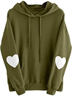 Mlide Long Sleeve With Heart Pattern Drawstring Hooded Sweatshirt,Womens Jumper Hooded Pullover Tops Blouse
