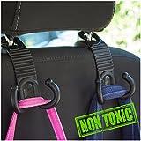 ALLTOOLS Car SUV Hooks Back Seat Headrest Hanger Holder Hang Purse Grocery Bag Handbag Cloth Coat Universal Vehicle Storage Organizer Drop Stop Gadget Car Accessories for Women Men