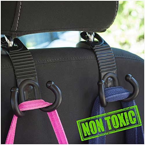 ALLTOOLS Car Hooks Back Seat Headrest Hanger Holder Hang Purse Grocery Bag Handbag Cloth Coat Universal Vehicle Storage Organizer Behind Over The Seat Car Accessories for Women Men