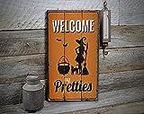 free brand Welcome My Pretties, Bruja de Halloween, decoración encantada, decoración de madera, decoración de Halloween, letrero de madera, rústico hecho a mano, decoración de madera vintage