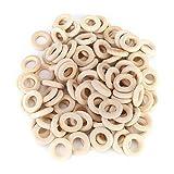 100 piezas 25 mm anillos de madera sin terminar, anillo de madera natural anillos de dentición para bebés accesorios de bricolaje para artesanía anillo colgante conectores joyería fabricación