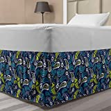 Ambesonne Paisley Elastic Bed Skirt, Ethnic Persian Ornamental Leaf Pattern Middle Eastern Floral Traditional, Wrap Around Fabric Bedskirt Dust Ruffle for Bedroom, Twin/Twin XL, Lime Green Night Blue