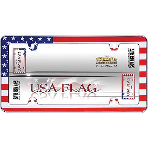 Cruiser Accessories 23003 USA Flag License Plate Frame - Chrome