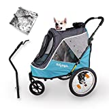 2-in-1 Happy Pet Dog Stroller and Bike Pet Trailer for Medium and Large Dogs - Heavy-Duty Pet Strollers with Air-Filled Tires, Rear Brake System - Premium Dog Buggies and Strollers - Ocean Blue