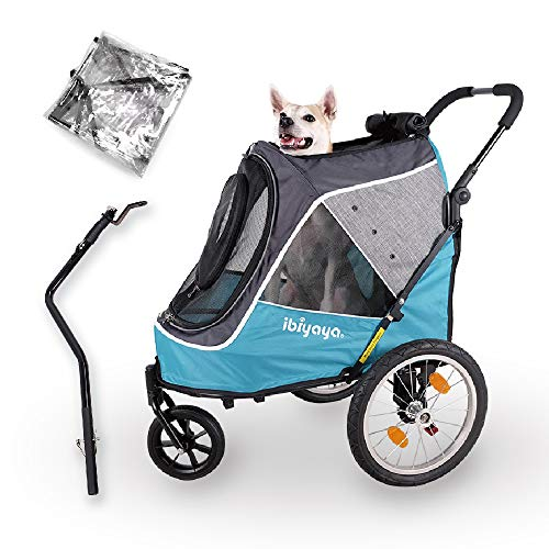 2-in-1 Happy Pet Dog Stroller and Bike Pet Trailer for Medium and Large Dogs -...