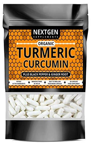 Organic Turmeric Capsules High Strength Curcumin with Black Pepper and Ginger 1812mg | 60 Capsules