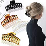 """YINVA Hair Clips for Thick Hair 4pcs 4.3""""Large Hair Claw Clips for Thick Hair Strong Hold Plastic Nonslip French Design Big Hair Clips for Women 4 Color"""