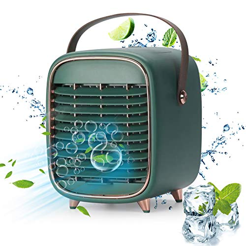 Portable Air Conditioner Fan, Rechargeable Personal Cordless Air Cooler Battery Powered Desk Fan with Handle, Desk Misting Fan with 3 Speeds for Small Room Office Dorm and Outdoor(Green)