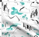 Landkarte, Berg, Wasserfarben, Muster, Blau, Pfad, Baum