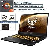 2020 ASUS TUF 17.3' FHD VR Ready Gaming Laptop Computer, AMD Ryzen 7 3750H(Beats i7-8565u, 16GB DDR4, 1TB HDD + 512GB PCIe SSD, GeForce GTX 1650 4GB, Windows 10, YZAKKA Accessories