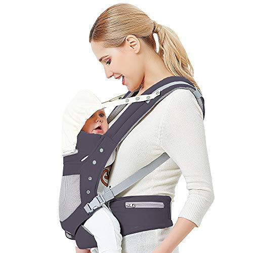 Baby Carrier with Adjustable Hip Seat,Baby Wrap Carrier with Hood, Soft & Breathable Backpack Front and Back for Infants to Toddlers Up to 44 lbs - Dark Gray