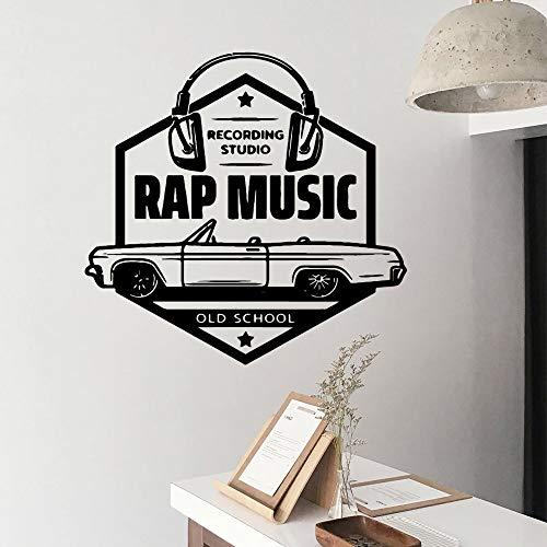 jiuyaomai Familie Rap Musik PVC Wandtattoos Wohnkultur Kinderzimmer abnehmbare Wandaufkleber DIY Wohnzimmer Wanddekoration an der Wand E57x58cm