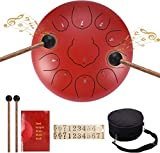 12 inches Steel Tongue Drum, 11 tones Tank Drum for adults and children, Easy to Use, Holiday Gift, with Rubber Mallet, Fingertips, Padded Travel Bag for Musical Education Mind Healing Yoga (Red)